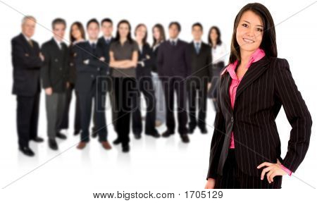 Business Team With A Businesswoman Leading