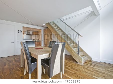 open plan dining room of a luxury duplex apartment