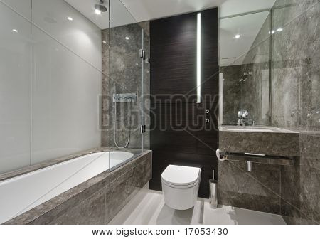 amazing luxury bathroom with brown marble finish