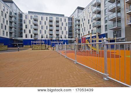 communal garden of a new development with playground