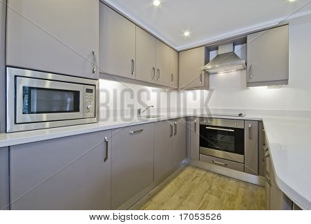 modern kitchen unit with built-in electric appliances