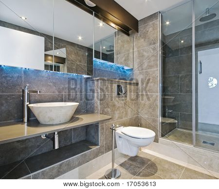 luxury bathroom with stone hand wash basin
