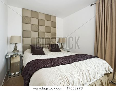 modern designer bedroom with luxury furniture and accessory