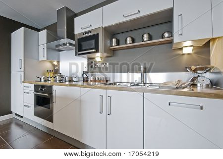 fully fitted modern kitchen with decorative elements