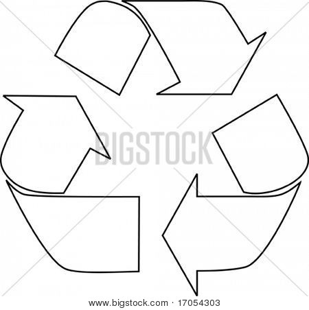 black outline recycle sign on white background eps vector