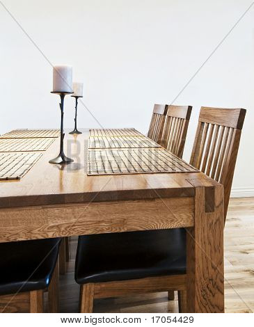 six seat massive wood dining table with chairs