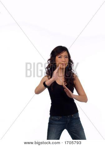 Young Asian American Woman Karate Chop