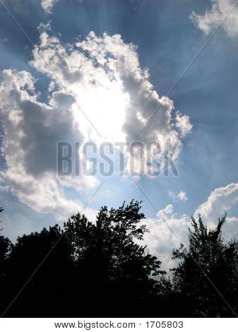 Intense Sun Rays Fill Sky