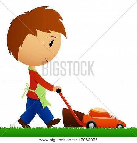 Man Cutting The Grass With Lawn Mower