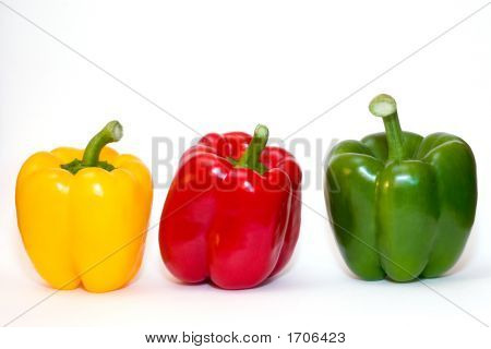 Three Bell Peppers On White