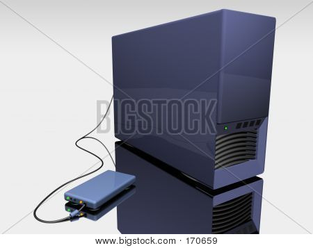 Blue 3d Computer Tower