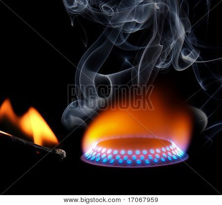 Ignition of match with smoke