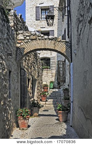view of the typical southearn france old stone village of saint paul de vence onthe frenc riviera refuge of many artist,painters,sculptors