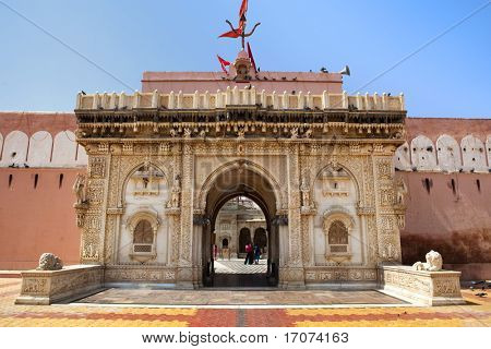 shri karni mata temple in deshnoke near Bikaner rajasthan state in india