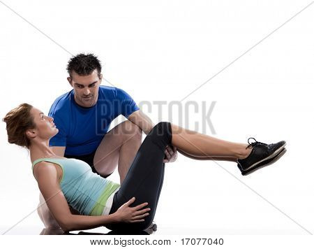 couple, man and woman on Abdominals workout posture on white background.