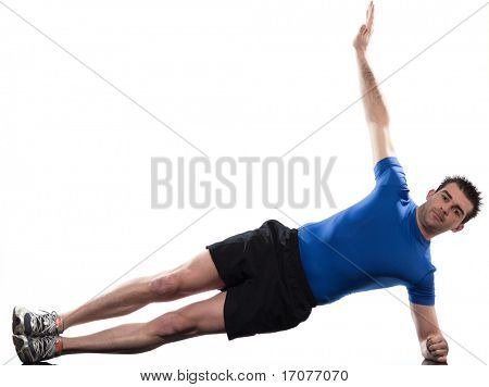 man on Abdominals workout posture on white background