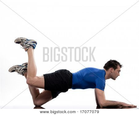 man on Abdominals workout posture on white background. Plank Bent Leg Raise