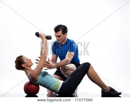 couple exercising workout on white background with weights