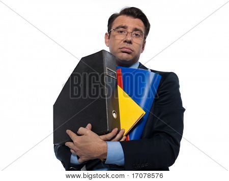 man businessman holding folders bored overload isolated studio on white background