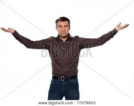 man sweating stain annoyed displeased isolated studio on white background