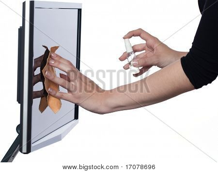 woman cleaning computer display isolated studio on white background
