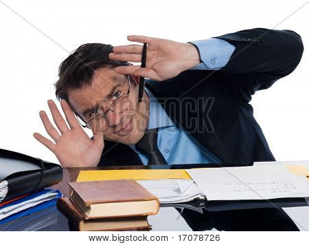 man caucasian teacher professor teaching afraid isolated studio on white background
