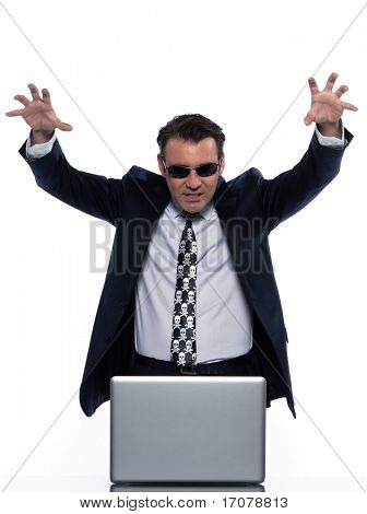 man caucasian hacker computer attack isolated studio on white backgroun