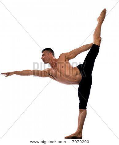 caucasian man gymnastic stretch balance isolated studio on white background