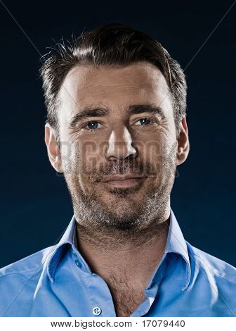 caucasian man unshaven smiling cheerful portrait isolated studio on black background