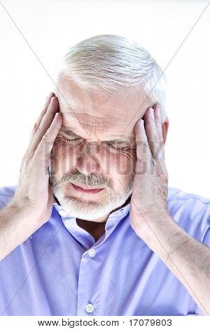 caucasian senior man portrait migraine isolated studio on white background