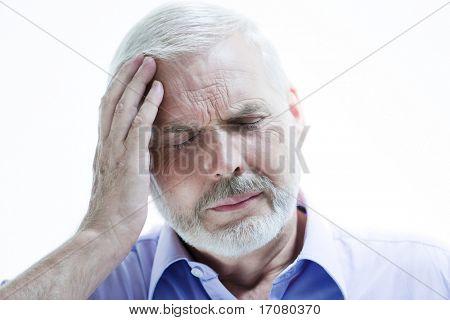caucasian senior man portrait suffer migraine isolated studio on white background
