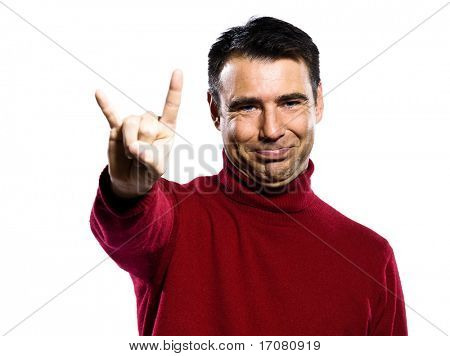 caucasian man mocking  obscene cuckold gesture studio portrait on isolated white background