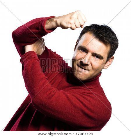 caucasian man  anger rude obscene gesture studio portrait on isolated white background