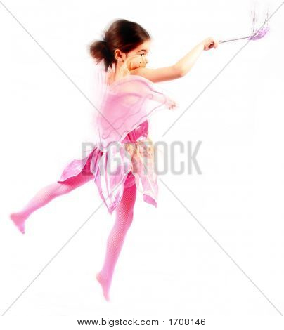 Little Cute Fairy Girl In A Pink Outfit With Wings And Fairytale