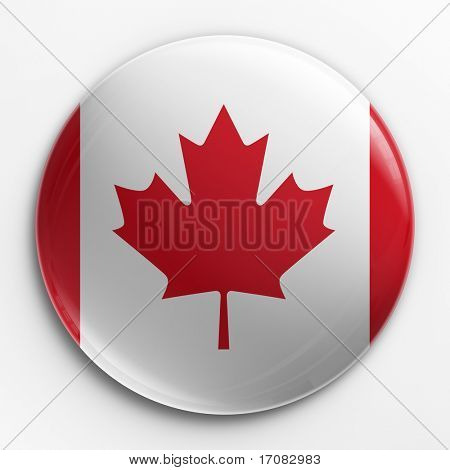 3d rendering of a badge with the Canadian flag