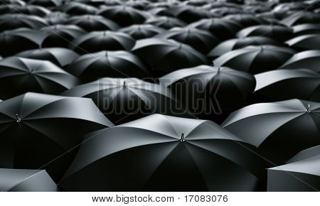 3d rendering of a sea of umbrellas