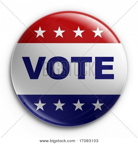 3d rendering of a badge to encourage voting