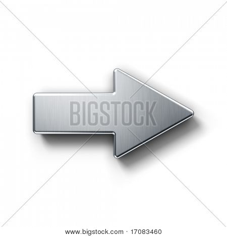 3d rendering of an arrow symbol in brushed metal on a white isolated background.