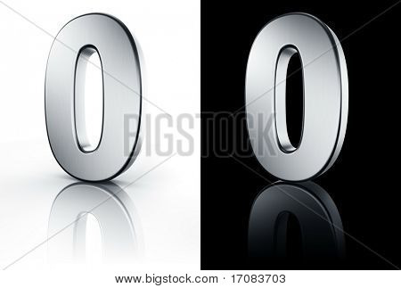 3d rendering of the number 0 in brushed metal on a white and black reflective floor.