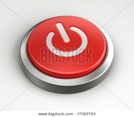 3d rendering of a red button with an on off logo on it.