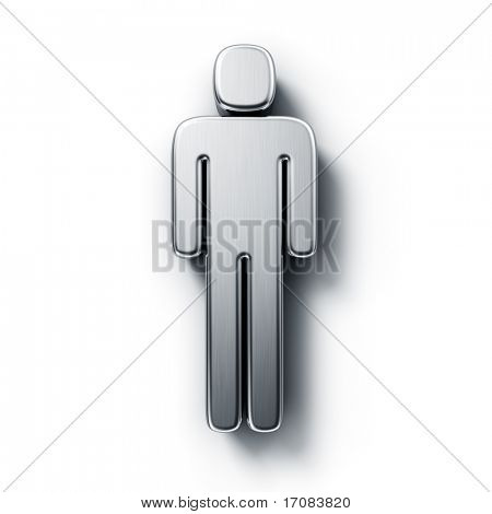 3d rendering of a male symbol in brushed metal on a white isolated background.