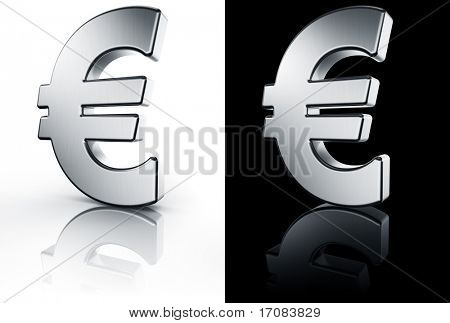 3d rendering of the euro sign in brushed metal on a white and black reflective floor.
