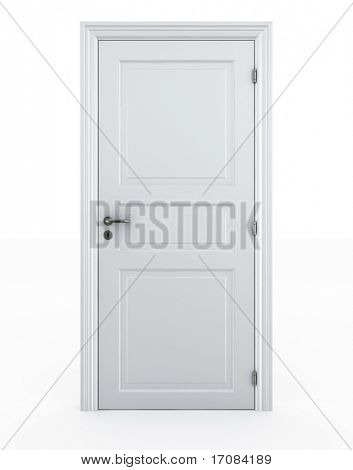 3d rendering of a door standing free on a white floor