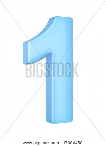 3d rendering of the number 1 in a translucent material