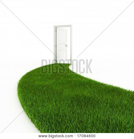 3d rendering of a grass footpath leading up to an open white door.