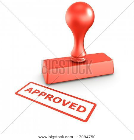 3d rendering of a rubber stamp with APPROVED in red ink