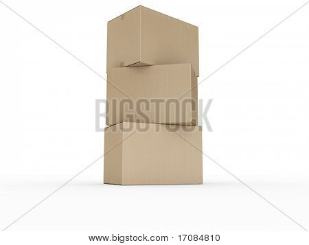 3d rendering of stacked cardboard boxes.