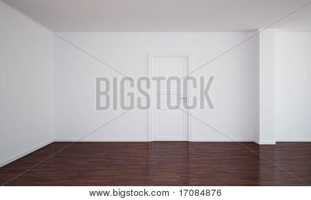 3d rendering of an empty room with dark wood floor and a closed door
