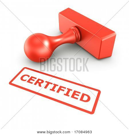 3d rendering of a rubber stamp with CERTIFIED in red ink
