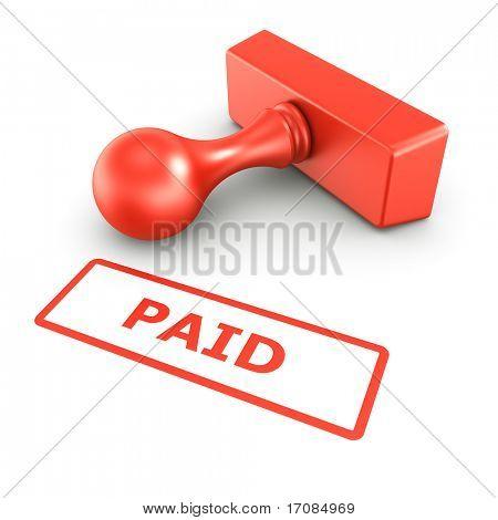 representación 3D de un sello de goma con pago en tinta roja